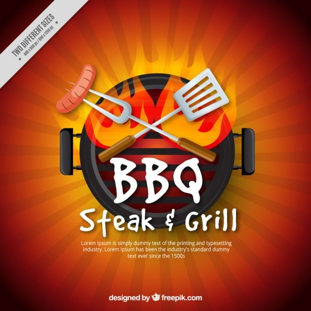 Sausage in a barbecue Free Vector