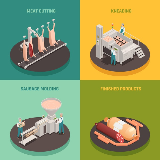 Sausage factory isometric design concept Free Vector
