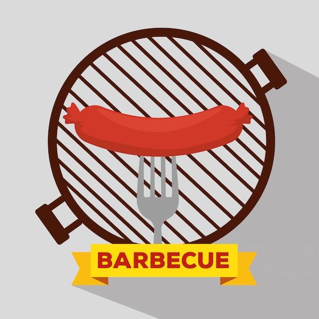 Колбаса-гриль с барбекю и вилкой Бесплатные векторы