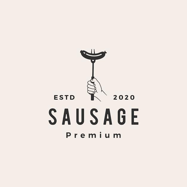 Sausage  vintage logo  icon illustration Premium Vector