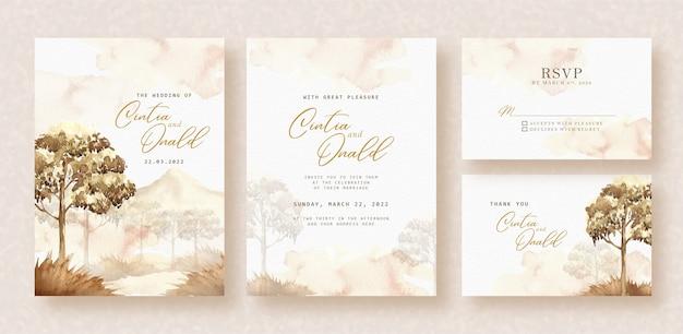 結婚式の招待状のサバンナ風景水彩背景 Premiumベクター