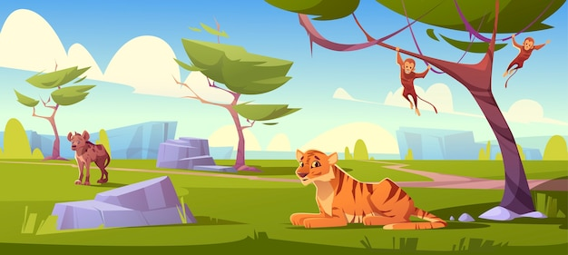 Paesaggio della savana con tigre, scimmie e sciacallo Vettore gratuito