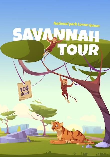 Poster del tour di savannah Vettore gratuito