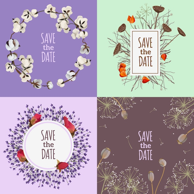Save the date 2x2 design concept Free Vector