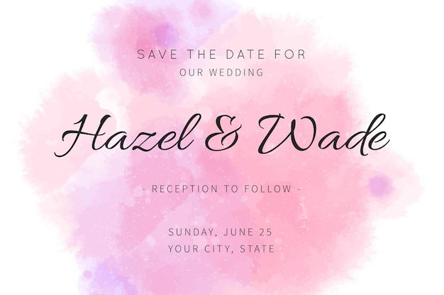 Save the date calligraphic invitation in watercolour stain Free Vector