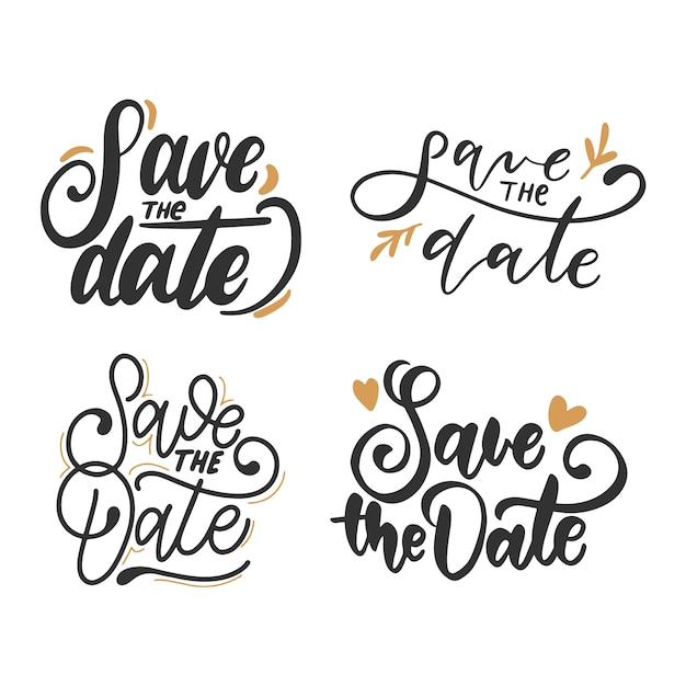 Save the date calligraphy collection Free Vector