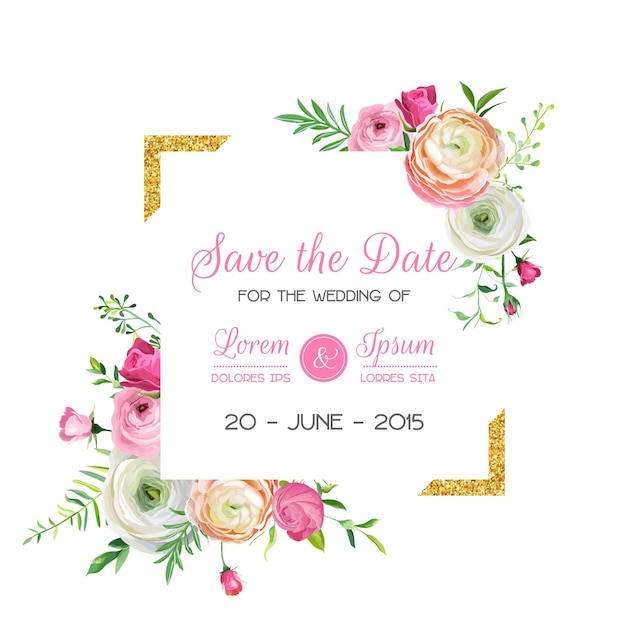 Save the date card template with golden glitter frame and pink flowers. wedding invitation, greeting