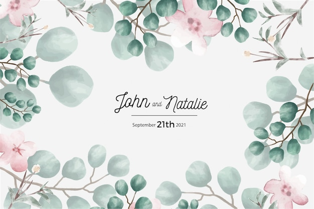 Save the date card, wedding invitation card Free Vector