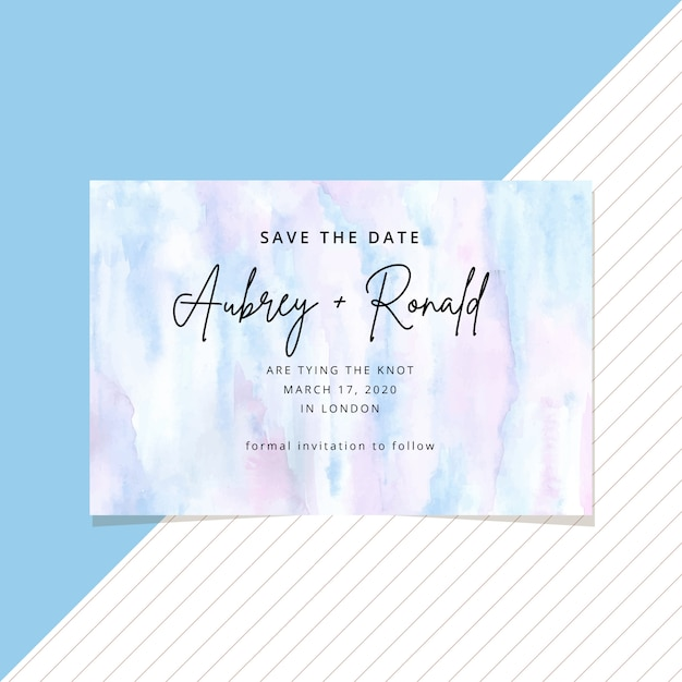 Save the date card with abstract watercolor Premium Vector