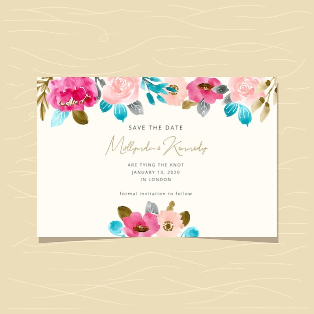 Save the date card with flower watercolor background Premium Vector