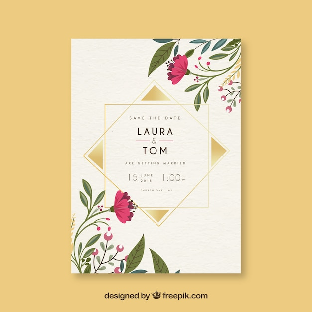 Save the date card with flowers and ornaments Free Vector
