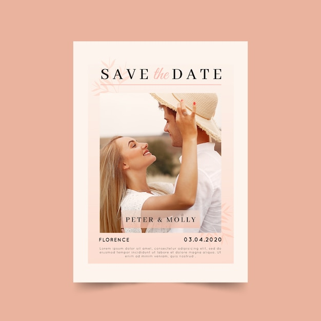 Save the date card with photo Free Vector