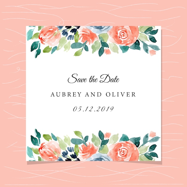 Save the date card with pretty watercolor floral frame Premium Vector