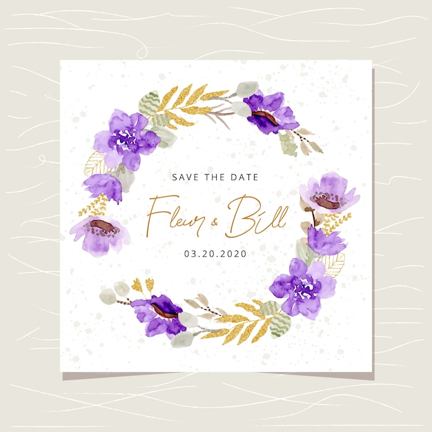 Save the date card with purple gold floral watercolor wreath Premium Vector