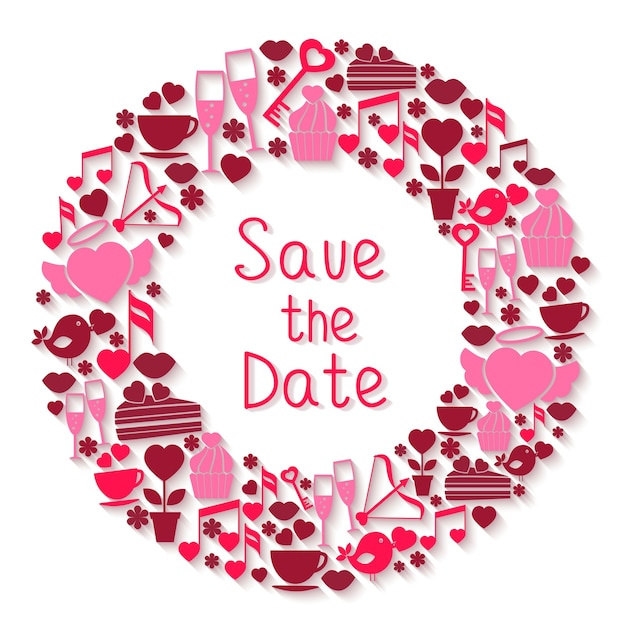 Save the date circular symbol with romantic icons depicting hearts Free Vector