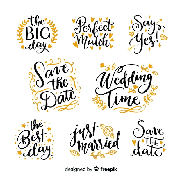 Save the date collection in lettering style Free Vector