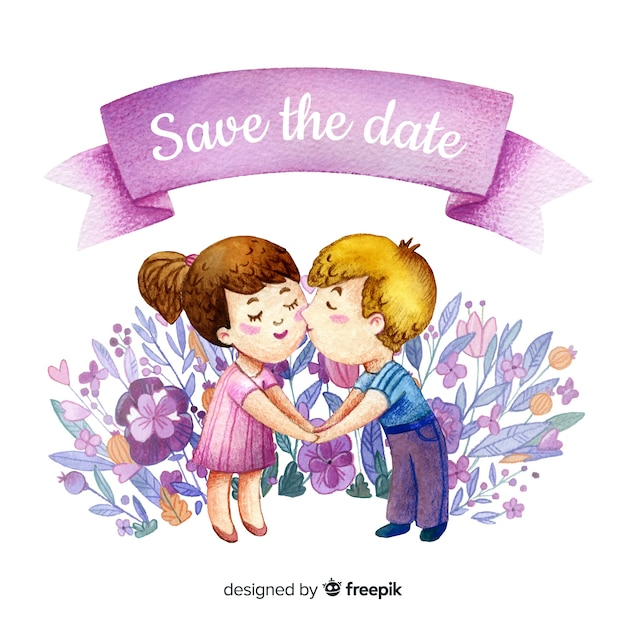 Save the date cute couple kissing Free Vector