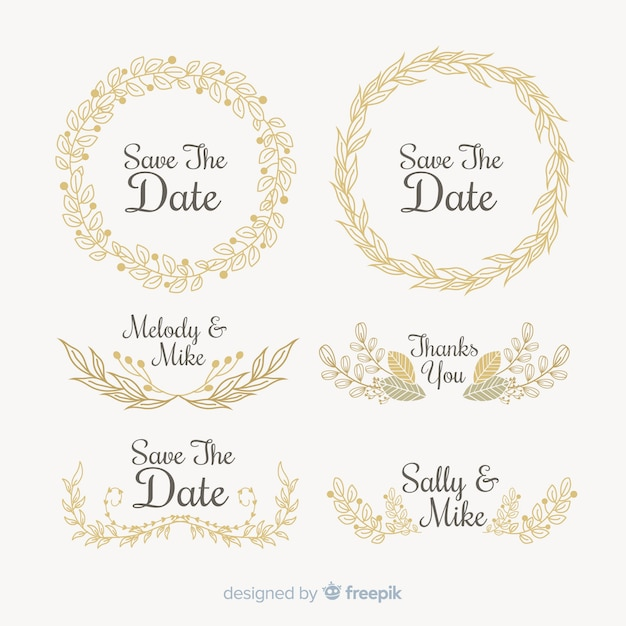 Save the date decorative element collection Free Vector