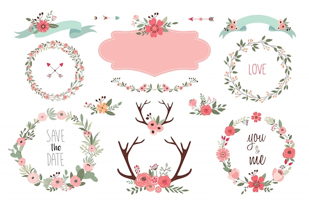 Save the date elements collectionwith wedding items, floral wreaths, bouquets and antlers Premium Vector