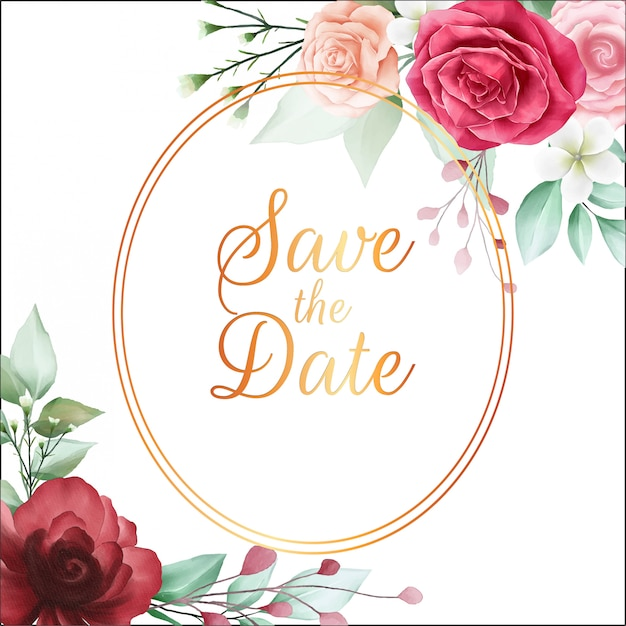 Save the date floral frame with beautiful red watercolor flowers Premium Vector