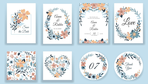 Save the date floral hand drawn cards and invitation collection Free Vector