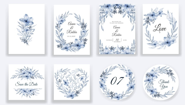Save the date floral watercolor blue cards and invitation collection Free Vector