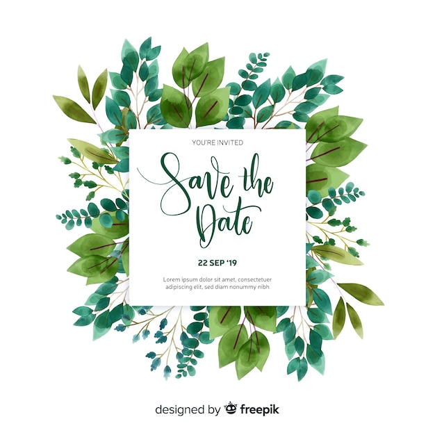 Save the date invitation card template Free Vector