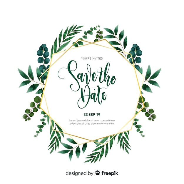 Save The Date Invitation Card Template Vector