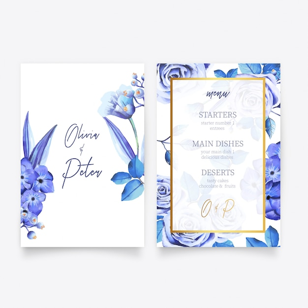 Save the date invitation & menu template Free Vector