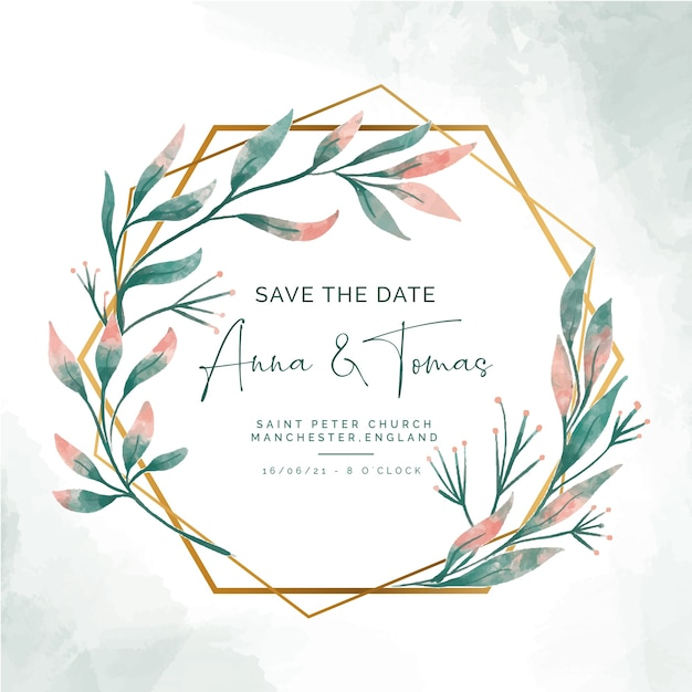 Save the date invitation with elegant golden frame Free Vector