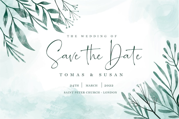 Save the date invitation with elegant leaves Free Vector