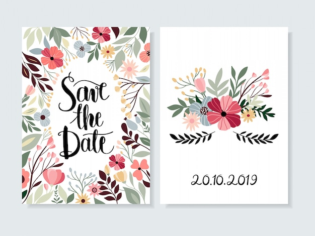 Save the date invitation with floral and hand lettering Premium Vector