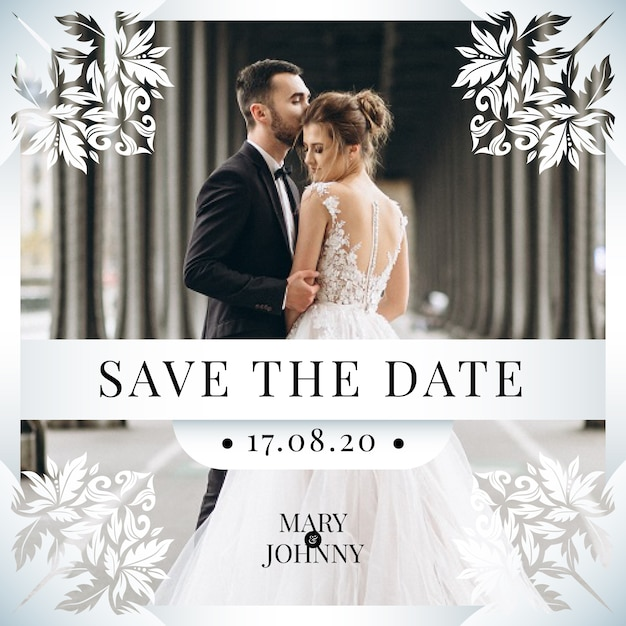 Save the date invitation with photo design Free Vector