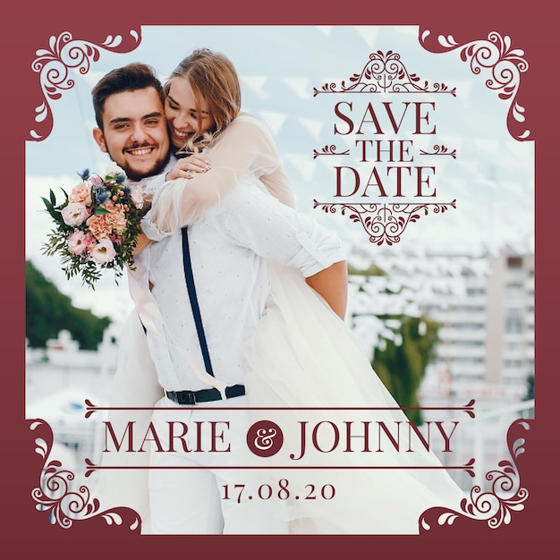 Save the date invitation with photo Free Vector