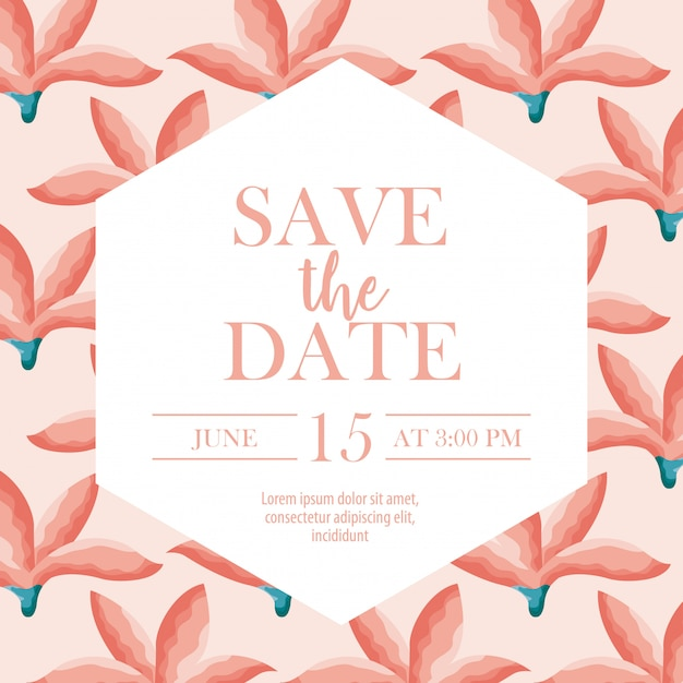 Save the date label with over flowers Free Vector