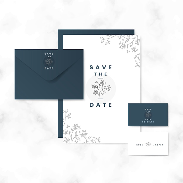 Save the date layout set vector Free Vector