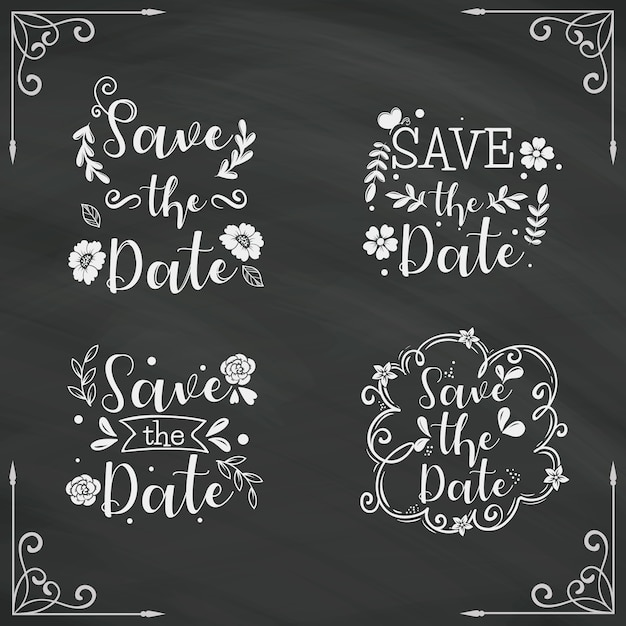Save the date lettering collection on blackboard Free Vector