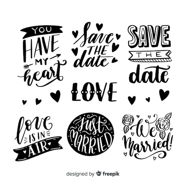 Save the date lettering collection design Free Vector