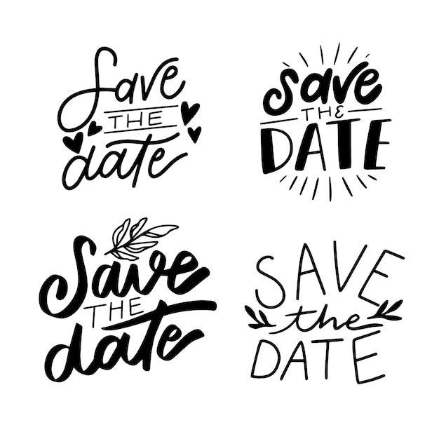 Save the date lettering collection set Free Vector