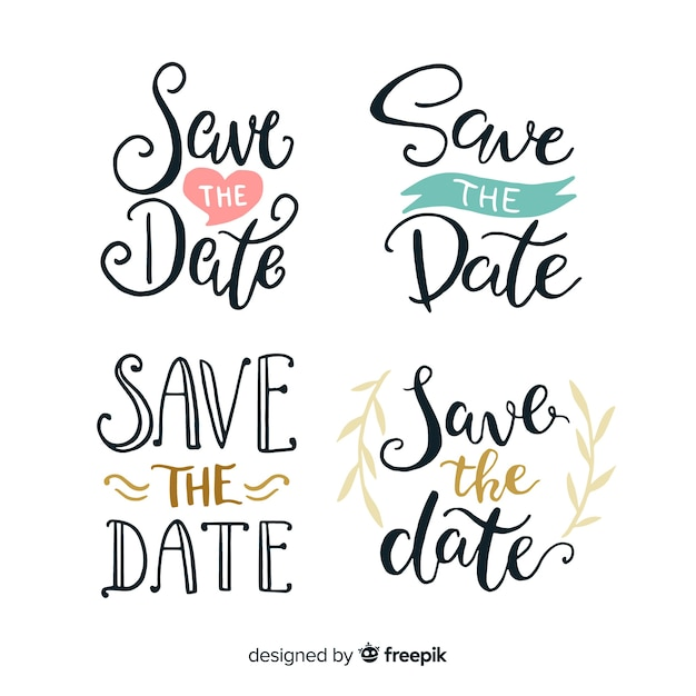 Save the date lettering collection Free Vector