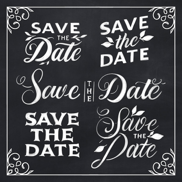 Save the date lettering pack Free Vector