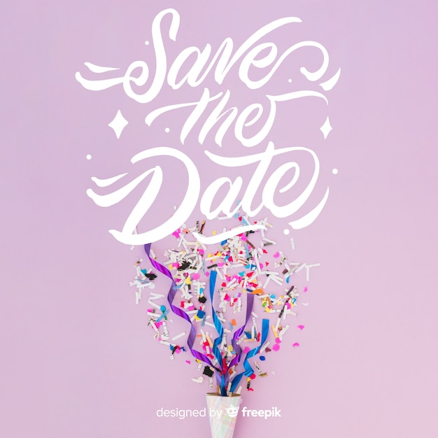 Save the date lettering on photo background Free Vector