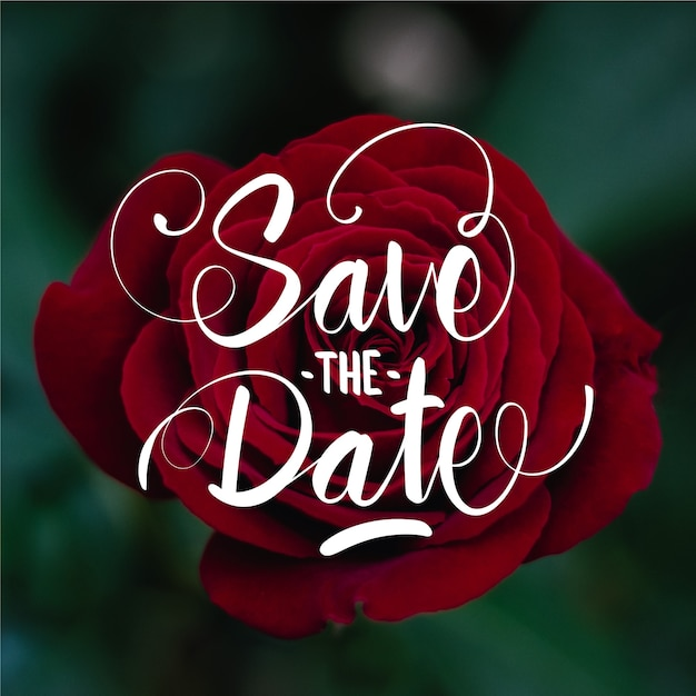 Save the date lettering on rose photo Free Vector