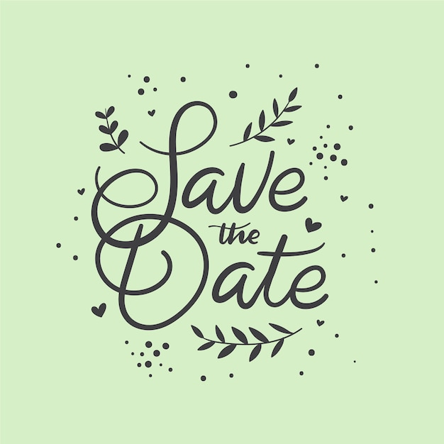 Save the date lettering style Free Vector