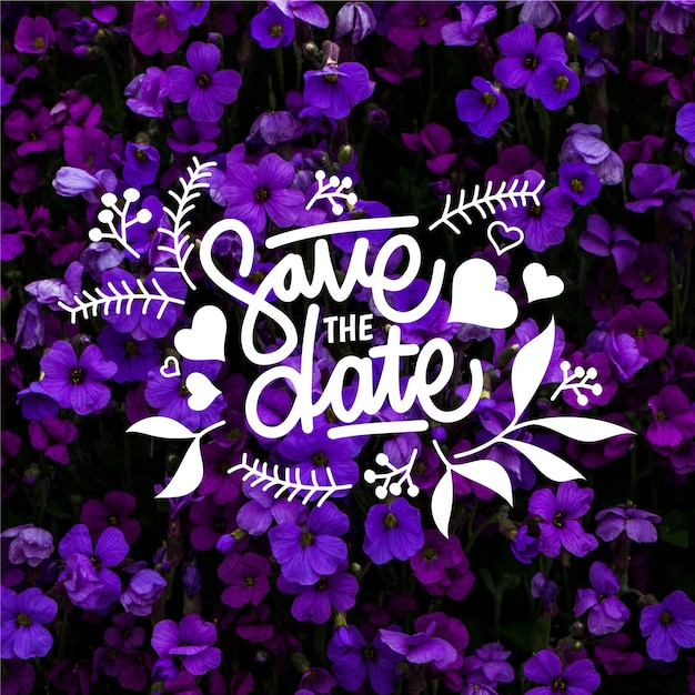 Save the date lettering with photo concept Free Vector