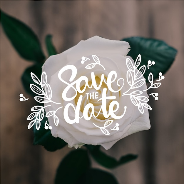 Save the date lettering with photo design Free Vector