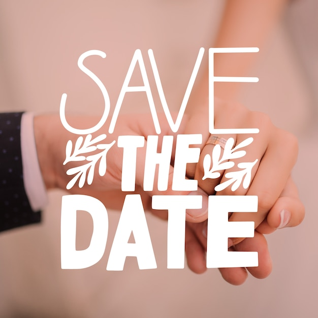 Save the date lettering with photo theme Free Vector