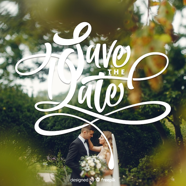 Save the date lettering with photo Free Vector