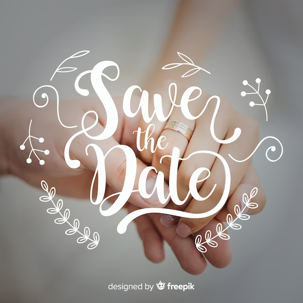 Christmas Save The Date Graphics.Save The Date Lettering With Photo Vector Free Download