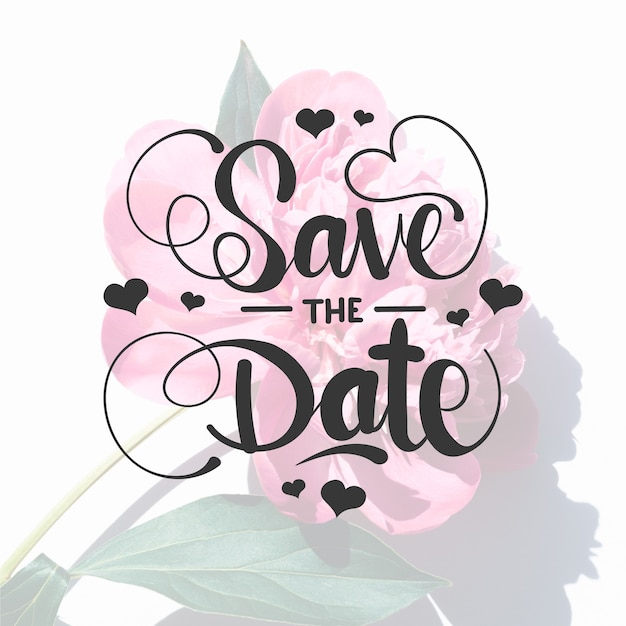 Save the date lettering with rose photo Free Vector